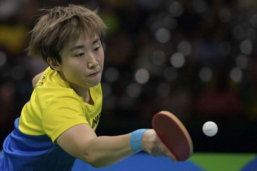 Feng Tian Wei hits a shot in the women's team bronze medal table tennis match against Japan during the Rio 2016 Olympic Games on Aug 16, 2016.