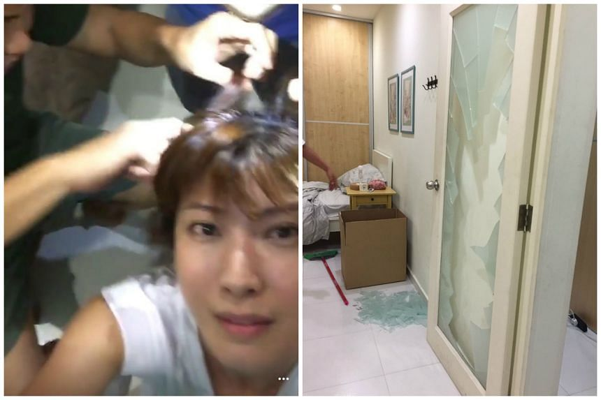 Cast and crew rushed to brush glass out of Jeanette Aw's hair and body. The actress says she may have pushed the door too hard.