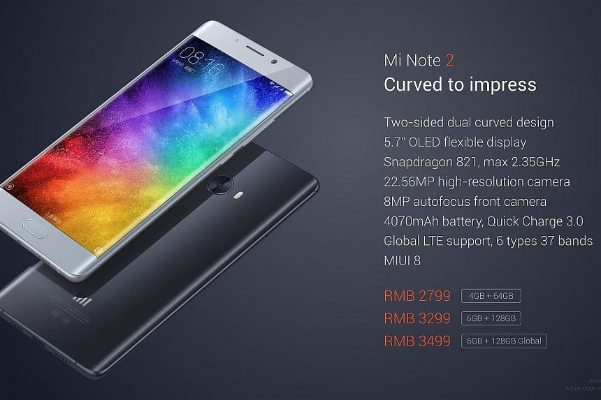 Xiaomi's new Mi Note 2 will cost between 2,799RMB (S$575) and 3,499RMB (S$720).