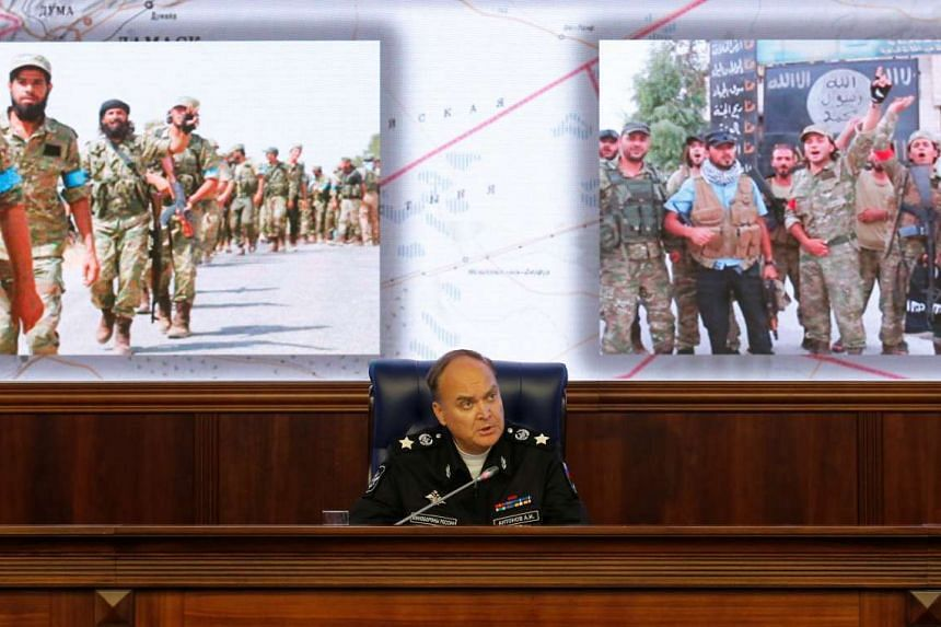 Russian Deputy Defence Minister Anatoly Antonov speaks during a news briefing on the situation in Syria, at the Russian Defense Ministry in Moscow, Russia, October 7, 2016.