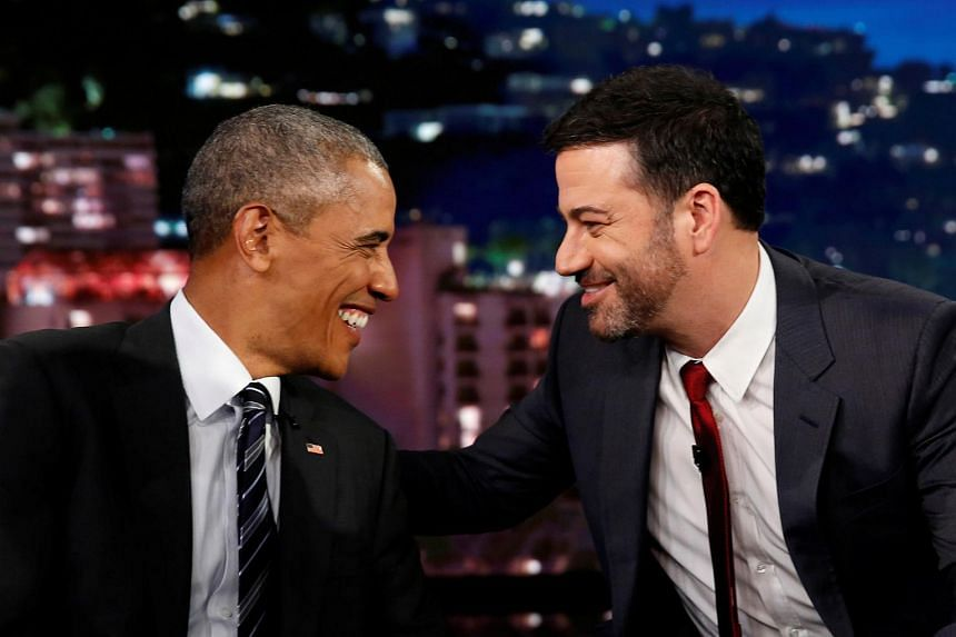 Barack Obama is interviewed by Jimmy Kimmel in a taping of the Jimmy Kimmel Live! show in Los Angeles.