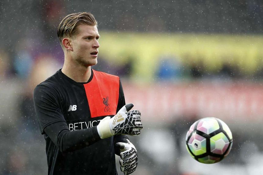 Liverpool's Loris Karius warms up before a match. He is now the club's first-choice goalkeeper.
