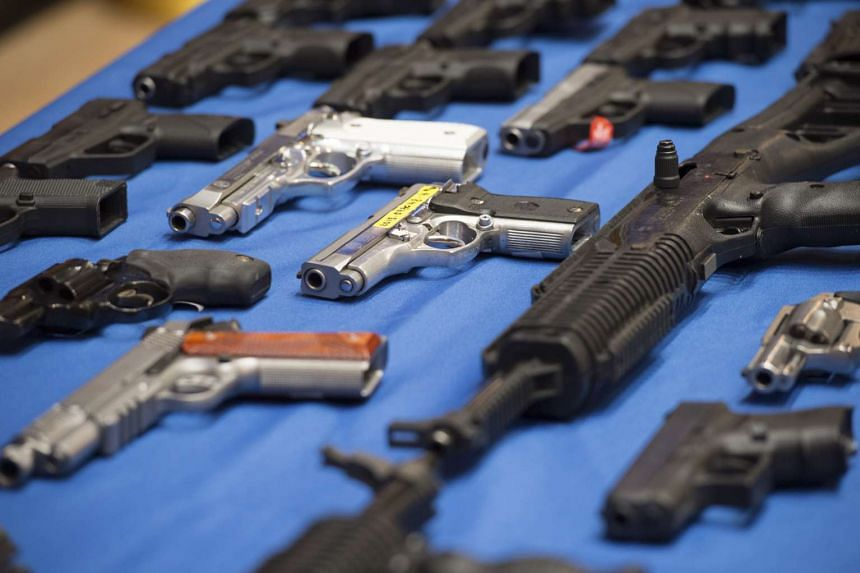 Seized guns on display on April 25, 2016. An analysis by the state attorney general's office found that 75 per cent of the guns seized in crimes that could be traced were bought outside New York.