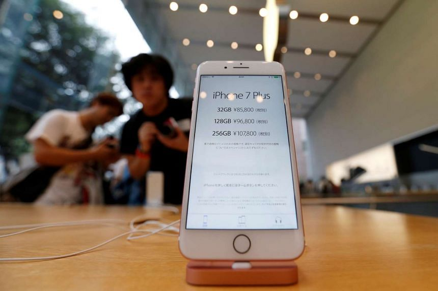 Apple's new iPhone 7 Plus is displayed at the Apple Store at Tokyo's Omotesando shopping district, Japan on Sept 16, 2016.