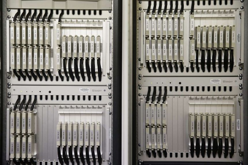 A computer-based interlocking system, which will eventually replace the function of the existing relays being used for the logic to move the trains, in the signalling equipment room of Woodlands MRT station.