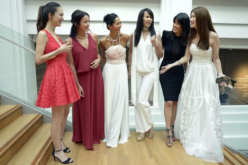 Supermodels (from left) Fiona Fussi, 20; Hanli Hoefer, 24; Huda Ali ,40; Pat Kraal, 54; Ethel Fong, 53; and Charmaine Harn, 36.
