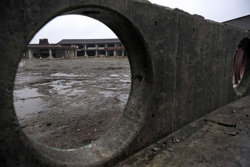 The washed out remains of Okawa Elementary School is seen in Ishinomaki city, Japan.