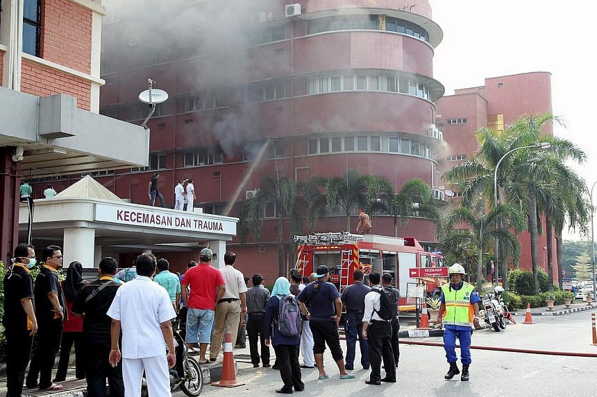 Fire broke out in the intensive care unit of Sultanah Aminah Hospital in Johor Baru yesterday morning, killing six patients who had been trapped in the ward. A seventh patient was rescued but suffered 80 per cent burns. Preliminary investigations poi