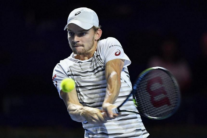 Belgium's David Goffin returns the ball during a match at the Swiss Indoors tennis tournament on Oct 25, 2016 in Basel.