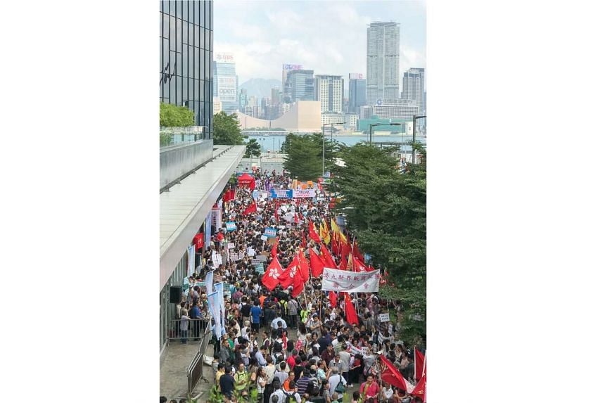 Thousands of mandarin-speaking protesters gathered outside Legislative Council (Legal) building in Admiralty district, Hong Kong on Oct 26, 2016.
