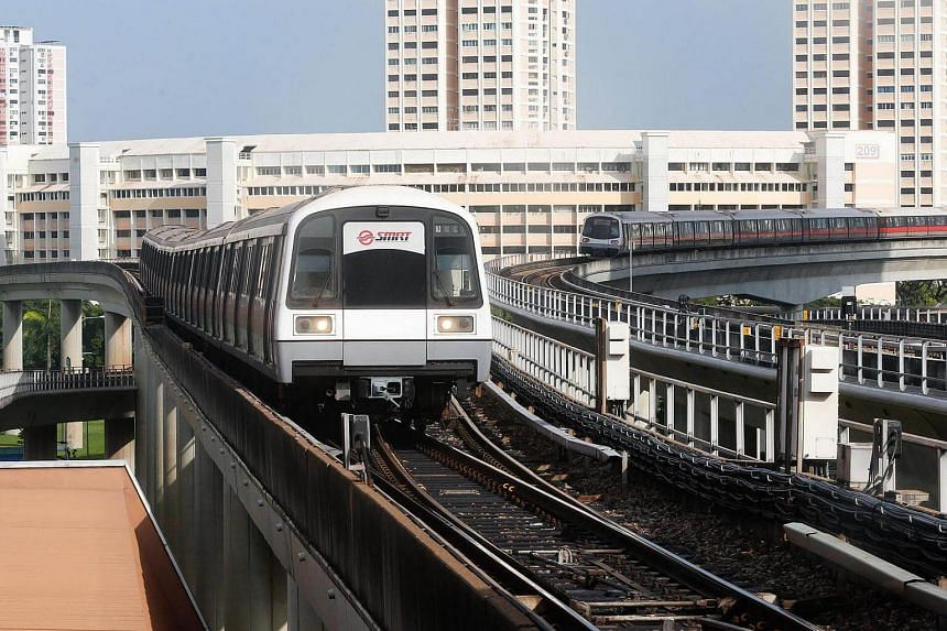 Trains waiting to move into Jurong East MRT station. The East-West MRT line suffered its third breakdown in a week yesterday morning (Oct 25).