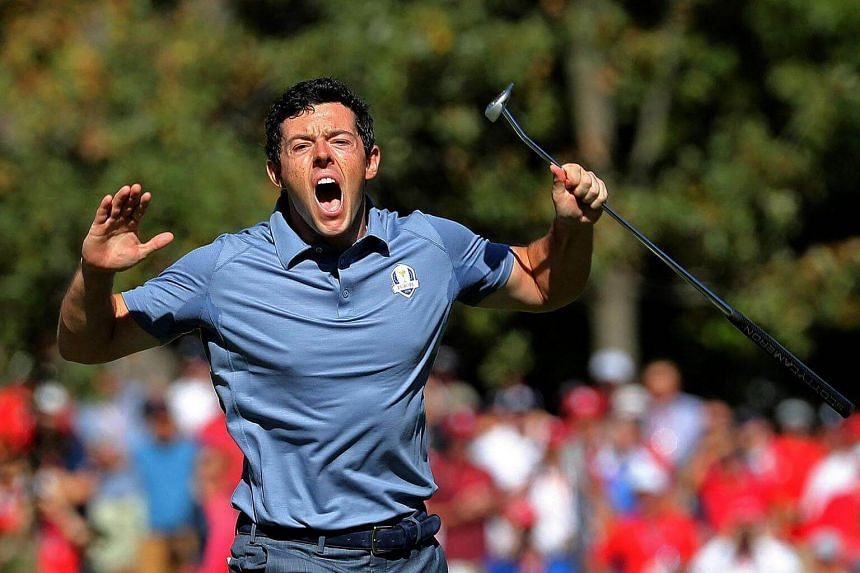 Rory McIlroy of Europe reacts on the eighth green during singles matches of the 2016 Ryder Cup at Hazeltine National Golf Club on Oct 2, 2016 in Chaska, Minnesota.
