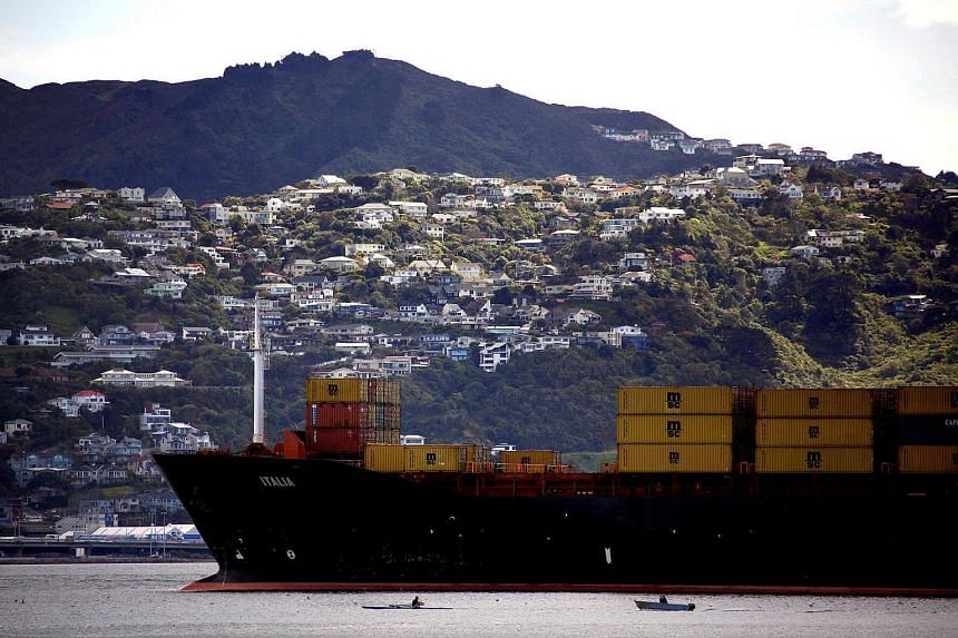 A container ship sails into Oriental Bay in the New Zealand capital of Wellington.