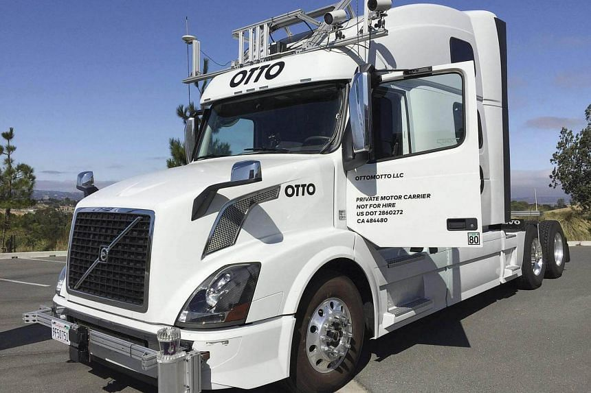 An Otto vehicle seen during an announcement in Concord, California.
