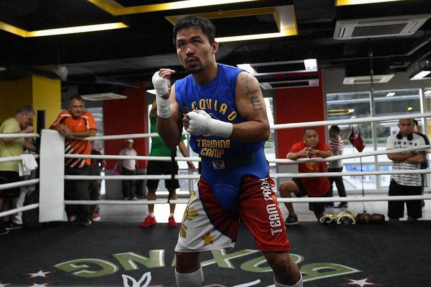 Philippine boxing icon Manny Pacquiao trains at a gym in Manila on Sept 29, 2016.