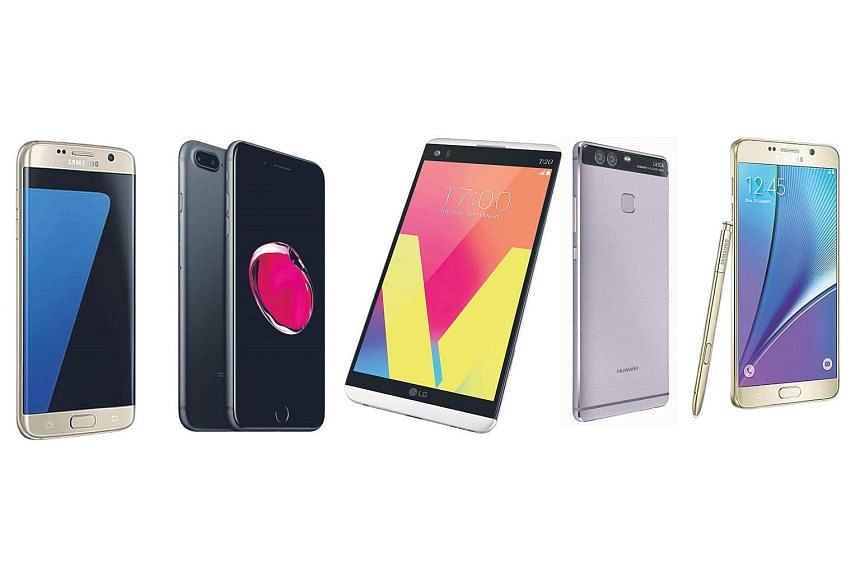 (From left) The Samsung Galaxy S7 edge, Apple's iPhone 7 Plus, the LG V20, the Huawei P9 Plus and the Samsung Galaxy Note 5.