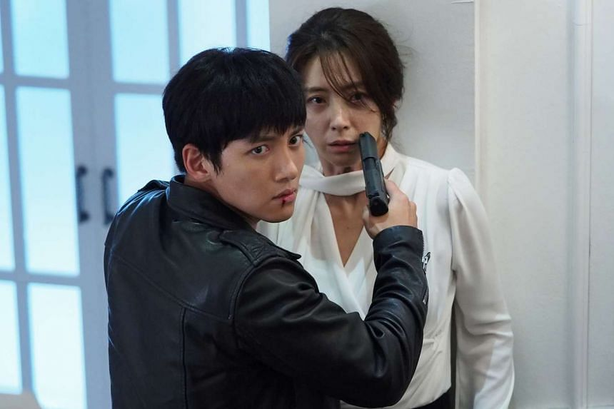 Ji Chang Wook (above left) and Song Yoon A (above right) have an uneasy alliance in The K2 while friends will not allow Ha Seok Jin and Park Ha Sun to chill out alone in Drinking Solo.
