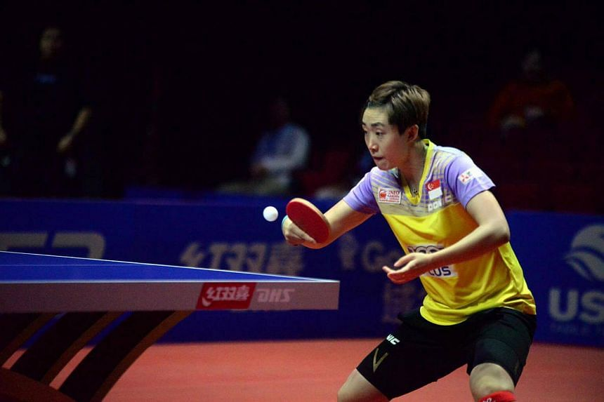 Singapore paddler Feng Tianwei in action against Miu Hirano of Japan in the semi-finals of the ITTF Women's World Cup in Philadelphia.