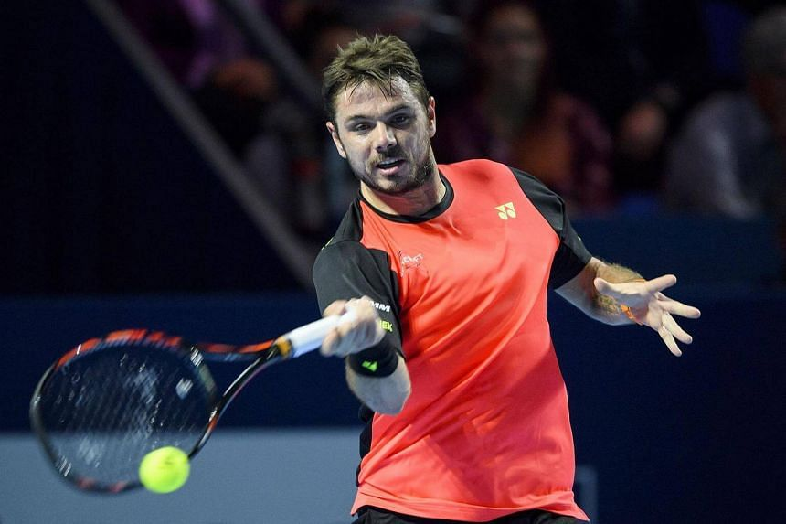 Stan Wawrinka returns the ball during a tennis match at the Swiss Indoors tournament on Oct 25, 2016 in Basel.