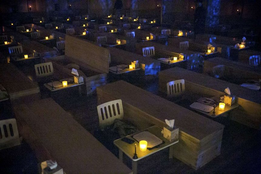 The participants are sealed inside their coffins for 10 minutes, leaving them encased in utter darkness.