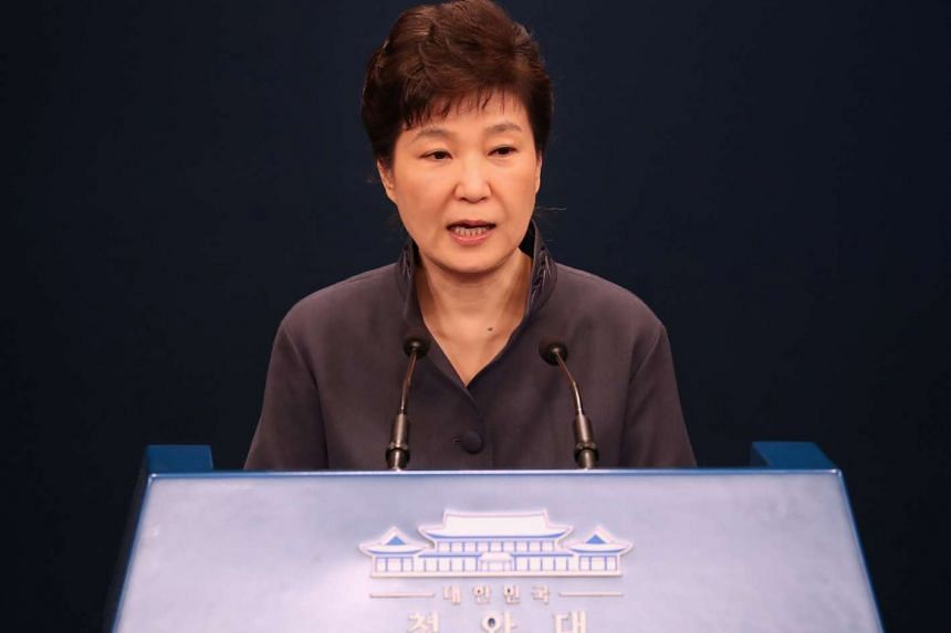 South Korean President Park Geun Hye releases a statement of apology to the public during a news conference at the Presidential Blue House in Seoul on Oct 25, 2016.