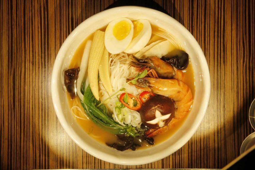 Handmade Korean noodles in prawn broth from Guksu Handmade Noodle House.