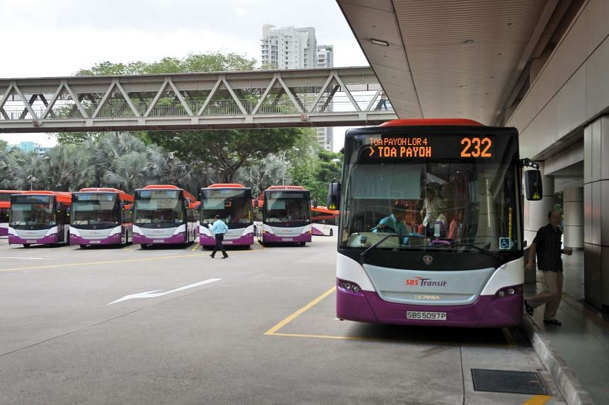 SBS Transit buses at the Toa Payoh bus interchange.