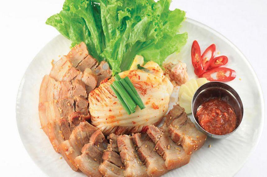 Bossam or Korean Boiled Pork Wrap from Insadong Korea Town.