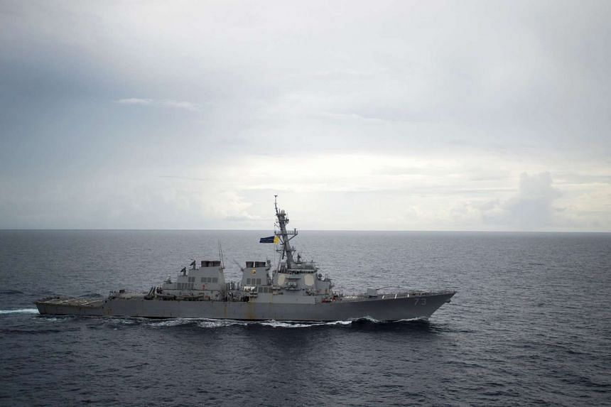 Guided-missile destroyer USS Decatur in the South China Sea as part of the Bonhomme Richard Expeditionary Strike Group in the South China Sea on Oct 13, 2016.