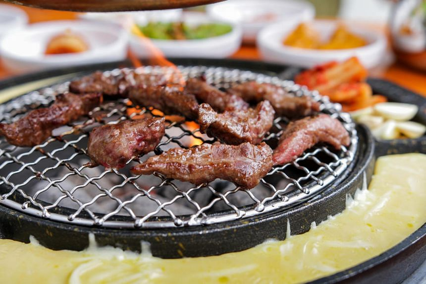 The signature Korean galmaegisal, or skirtmeat from the pig, from Korean charcoal barbecue restaurant Seorae.