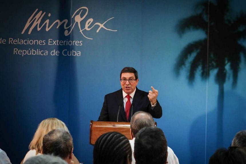 Cuba's foreign minister Bruno Rodriguez gives a press conference to present a government report on the US trade embargo, on Sept 9, 2016 at the Foreign Ministry in Havana.