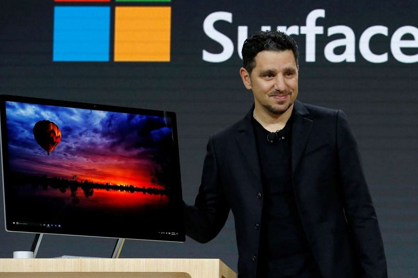 Panos Panay, Corporate Vice President for Surface Computing demonstrates the new Microsoft Surface Studio computer at a live event in the Manhattan borough of New York City, on Oct 26, 2016.