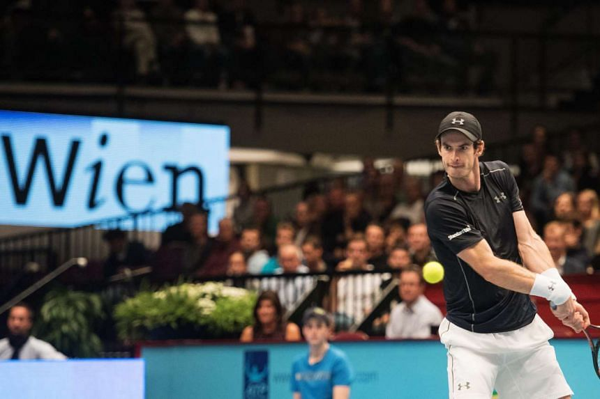 Andy Murray of Britain in action against Martin Klizan from Slovakia during their first round match for the Erste Bank Open ATP tennis tournament in Vienna, Austria on Oct 26, 2016.