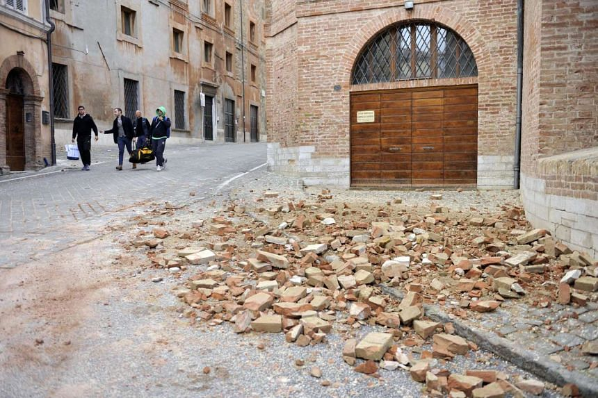 Rubble in Camerino, near Macerata, a day after two big earthquakes shook central Italy, on Oct 27, 2016.