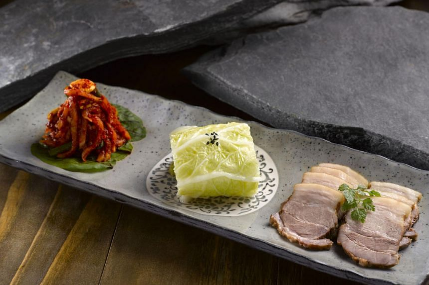 The Hungarian Mangalitsa pork in the Joo Bossam is flavourful and the kimchi and cabbage provide a strong dose of acidity to cut the heaviness of the fatty pork.