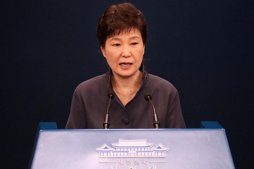 South Korean President Park Geun Hye releases a statement of apology to the public during a news conference at the Presidential Blue House in Seoul.
