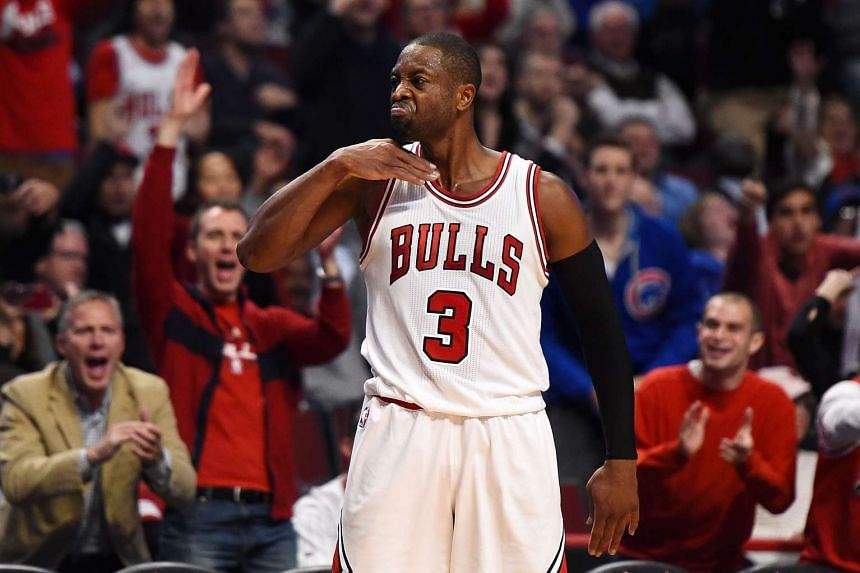 Dwyane Wade of the Chicago Bulls reacts to a three point shot against the Boston Celtics on Oct 27, 2016 in Chicago.