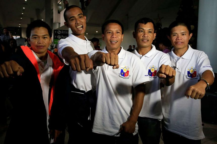 Five Filipino seafarers were released from the captivity of Somali pirates after nearly five years and reunited with their families at the Ninoy Aquino International Airport on Oct 28, 2016.