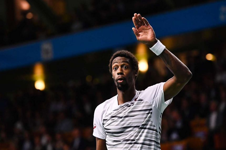 France's Gael Monfils at the ATP Stockholm Open tennis tournament match against Portugal's Gastao Elias in Stockholm on Oct 20, 2016.