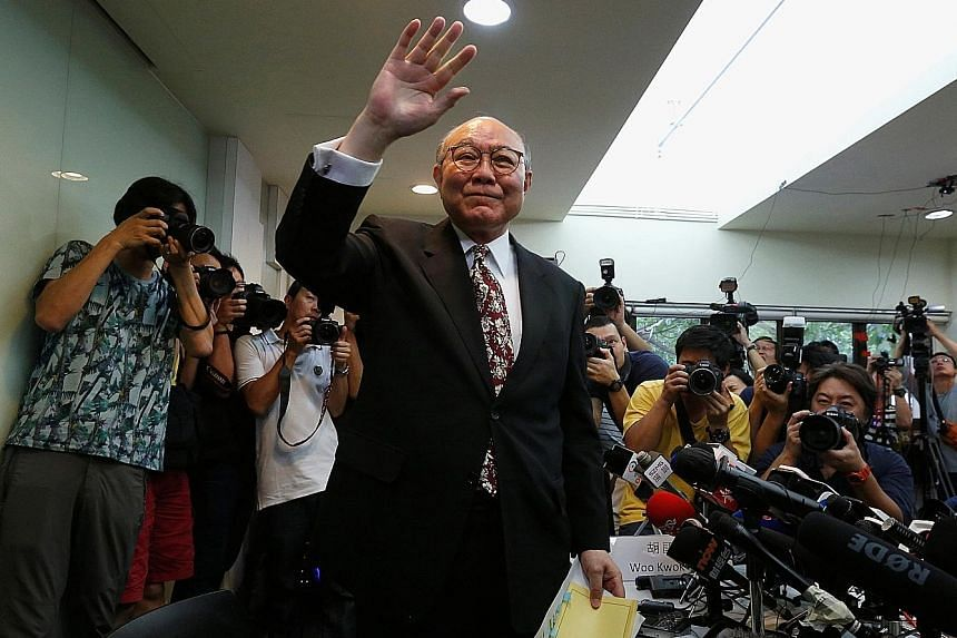 Clockwise from above: Mr Woo - who was chairman of the Electoral Affairs Commission and vice-president of the Court of Appeal - announcing his intention to run for the territory's top post yesterday. He might be up against New People's Party head Ip,