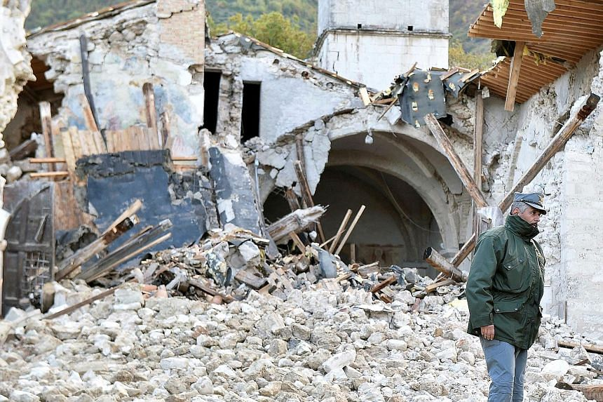 The San Salvatore a Campi di Norcia, a late 14th century church in the town of Campi di Norcia in central Italy, was badly damaged after two strong earthquakes shook the region on Wednesday evening. An earthquake on Aug 24 in the same area killed nea
