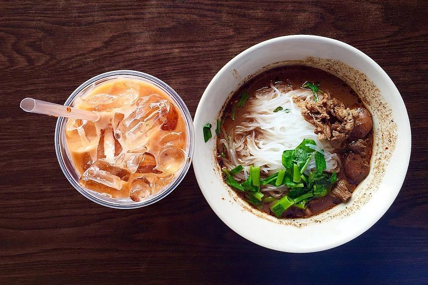 Thai boat noodles and iced milk tea from Noodle Cafe at Sim Lim Square