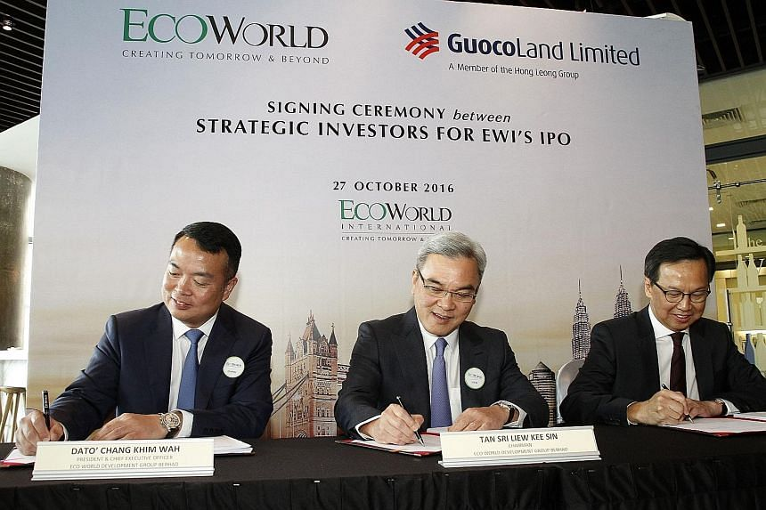 From left: Mr Chang Khim Wah, president and CEO of Eco World Development Group; Mr Liew Kee Sin, chairman of Eco World Development Group and executive vice-chairman of Eco World International; and Mr Raymond Choong, group president and CEO of GuocoLa