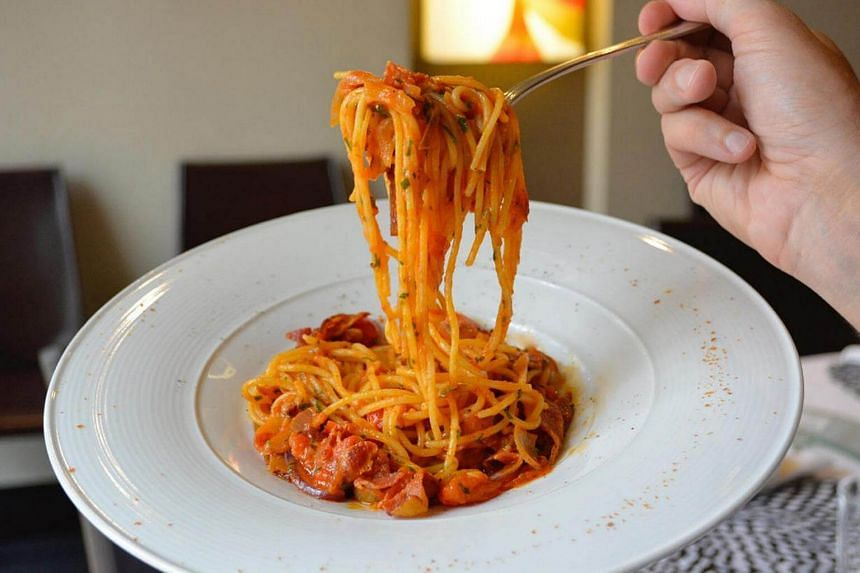 Pasta with Amatriciana sauce at Garibaldi Italian Restaurant & Bar.