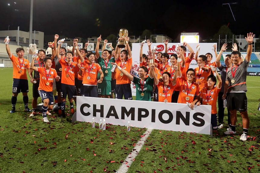 Albirex Niigata players with the Great Eastern Yeo's S.League trophy after their match against Tampines Rovers at Jalan Besar Stadium on Oct 26, 2016. Albirex had sealed the S.League title on Oct 14, 2016, with a 3-0 win over Hougang United.