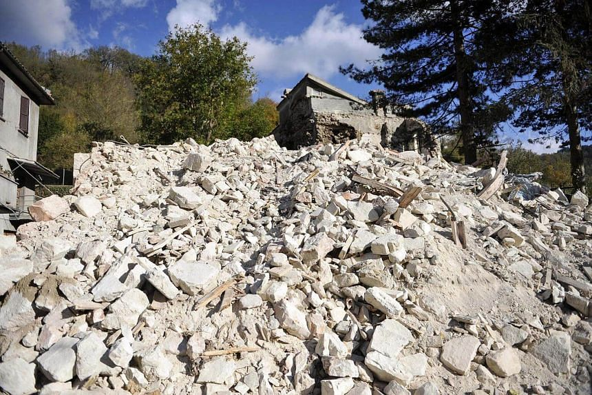 Rubbles in Visso, near Macerata a day after two big earthquakes shook central Italy, Visso, Italy, on Oct 27, 2016.