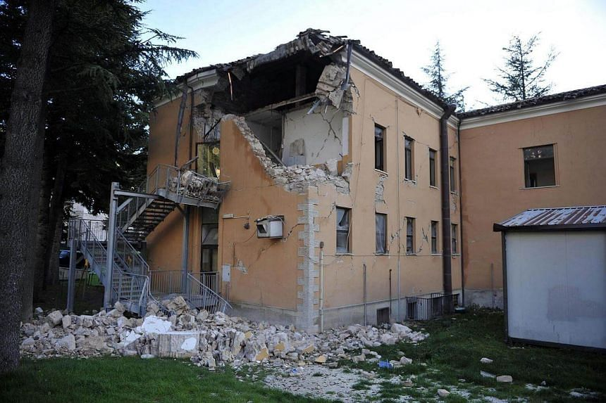 A damaged elementary school in Visso, near Macerata, a day after two big earthquakes shook central Italy, Visso, Italy, on Oct 27, 2016.
