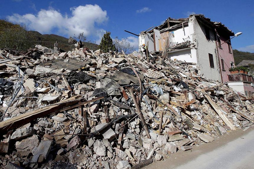 A collapsed house is seen after an earthquake in Borgo Sant'Antonio near Visso, central Italy, on Oct 27, 2016.