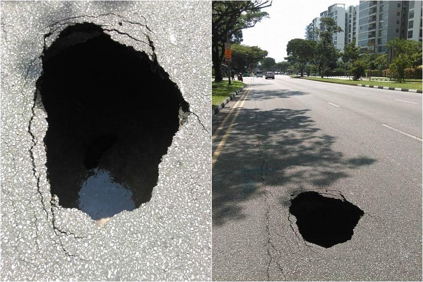 Sinkhole found at Yishun Avenue 7 on Oct 26, 2016.