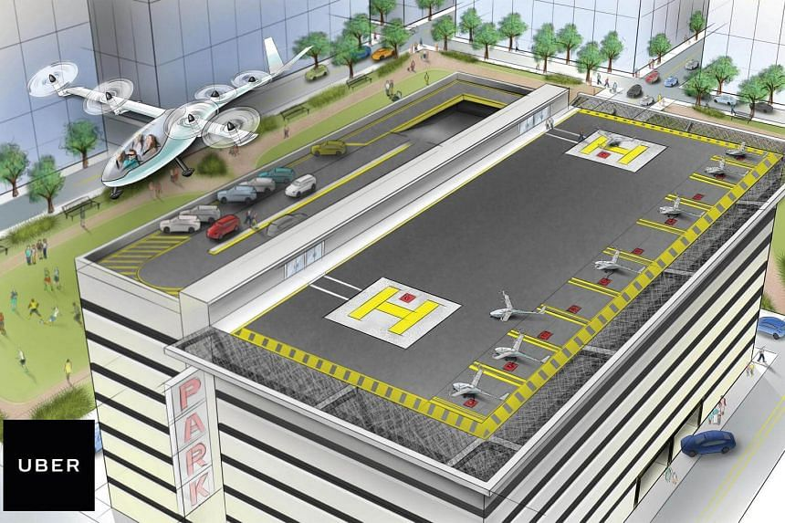 A vertical takeoff and landing aircraft (VTOL) leaves a heliport in an artist's rendition released by ride-sharing company Uber.